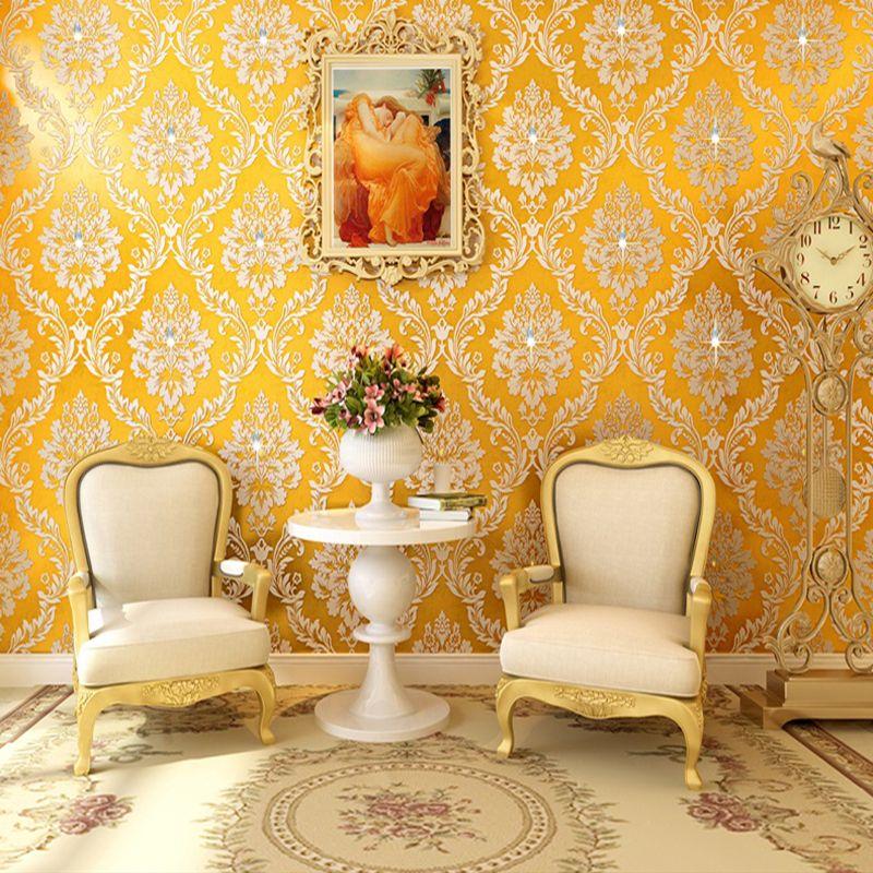 Европейский Стиль роскошный золотой Дамаск diamond Нетканые обоев Гостиная Спальня ТВ диван Задний план Papel де Parede 3D