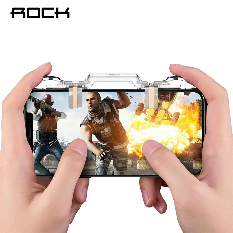 ROCK PUBG Mobile Phone Controllor For iPhone X XS MAX 8 Samsung Xiaomi Gaming Joystick Game Fire Button Aim Key Shooter