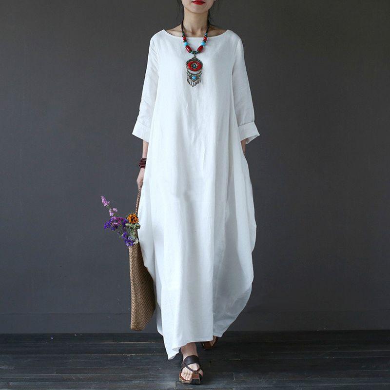 2018 лето плюс Размеры Платья для женщин для Для женщин 3XL 4XL 5XL свободные хлопок белье белое платье бохо платье-рубашка с длинными рукавами дли...