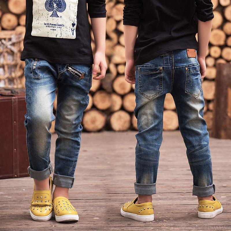 Детская одежда 2018 весенние брюки одежда для малышей Штаны джинсы для мальчиков, Приталенная модель Бесплатная доставка