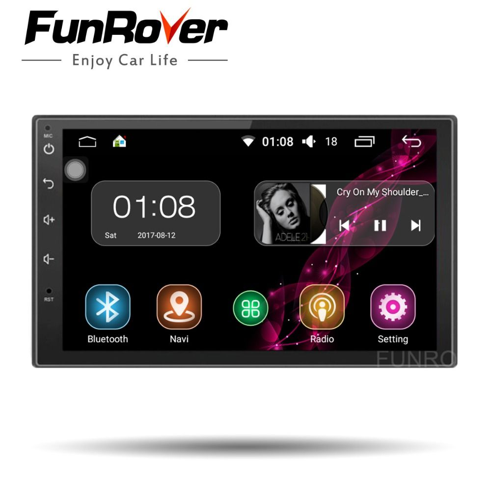 FUNROVER Quad Core 2 din 7 Inch Universal Car dvd Radio player android 8.0 Car Radio Stereo Player GPS Navigation audio stereo