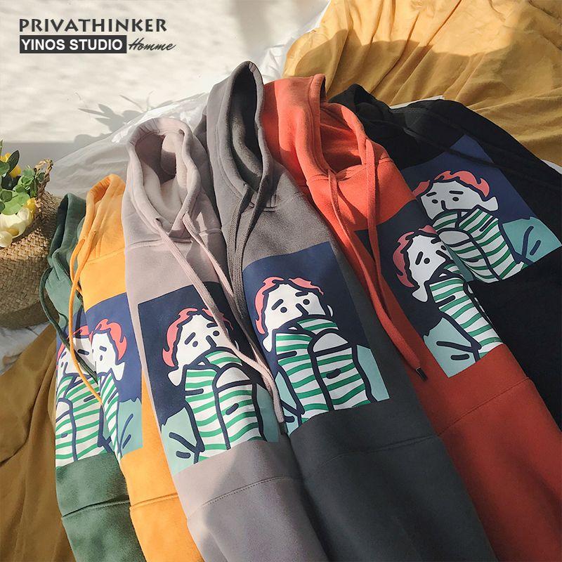 Privathinker Thick Fleece Hoodie Men Women Winter Warm Sweatshirts Coat Funny Print Cotton Hoodie Sweatshirt Korean Harajuku