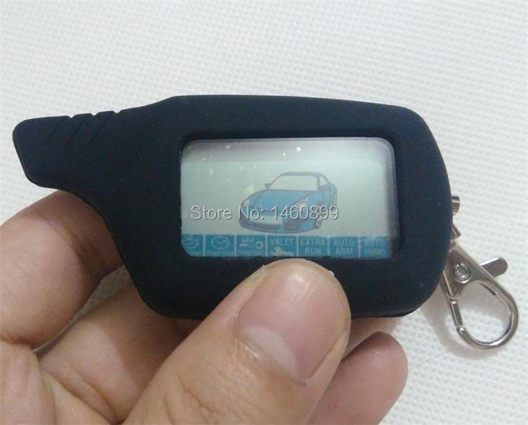 B9 2-way LCD Remote Control Key Fob Chain Keychain + Tamarack Silicone Key Case for Russian Two Way Car Alarm System Starline B9