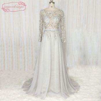 SuperKimJo Backless Sexy Beaded Prom Dresses Long 2017 Silver Crystal Chiffon Cheap Evening Gown China Vestidos De Festa Longo