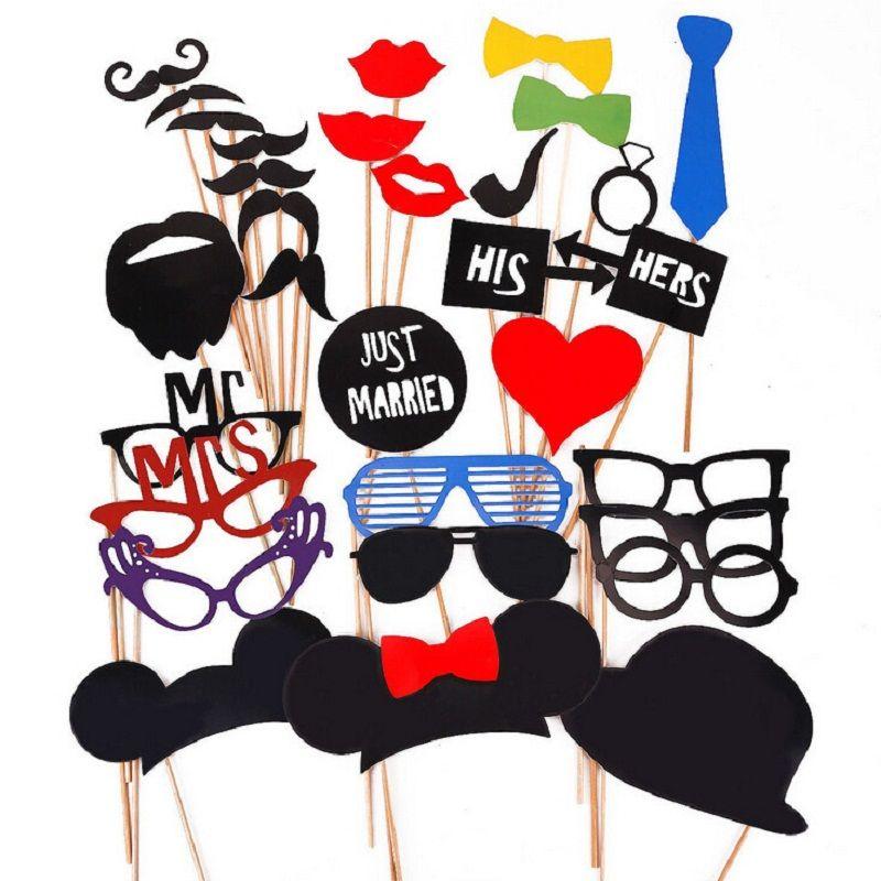 31 pièces/ensemble Vintage mariage fournitures Photo accessoires drôle papier chapeau lèvres lunettes moustache cravate nouvelle arrivée mariage fête photographie