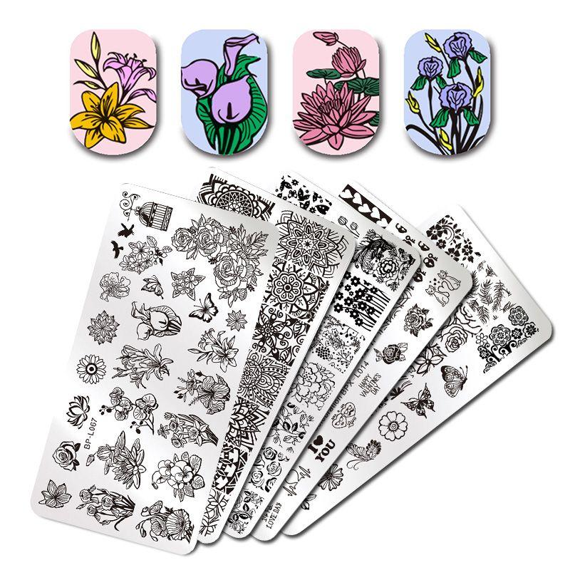Различные цветочным узором прямоугольник ногтей штамп плита изображения родился Довольно Цветочный Дизайн штамповка шаблона
