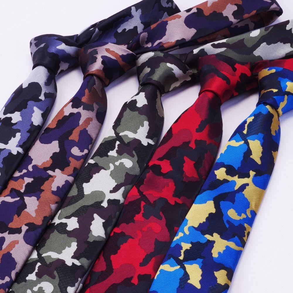 RBOCOTT Лидер продаж Для мужчин s тонкий галстук камуфляж рисунком Галстуки 6 см галстуки модные узкие галстук для Для мужчин Свадебная вечерин...