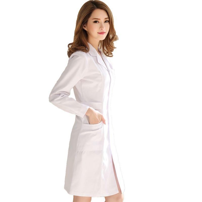 Hôpital long blanc médecin tunique dentiste médecin costume femmes à manches longues mince style durable et lavable vêtements médicaux