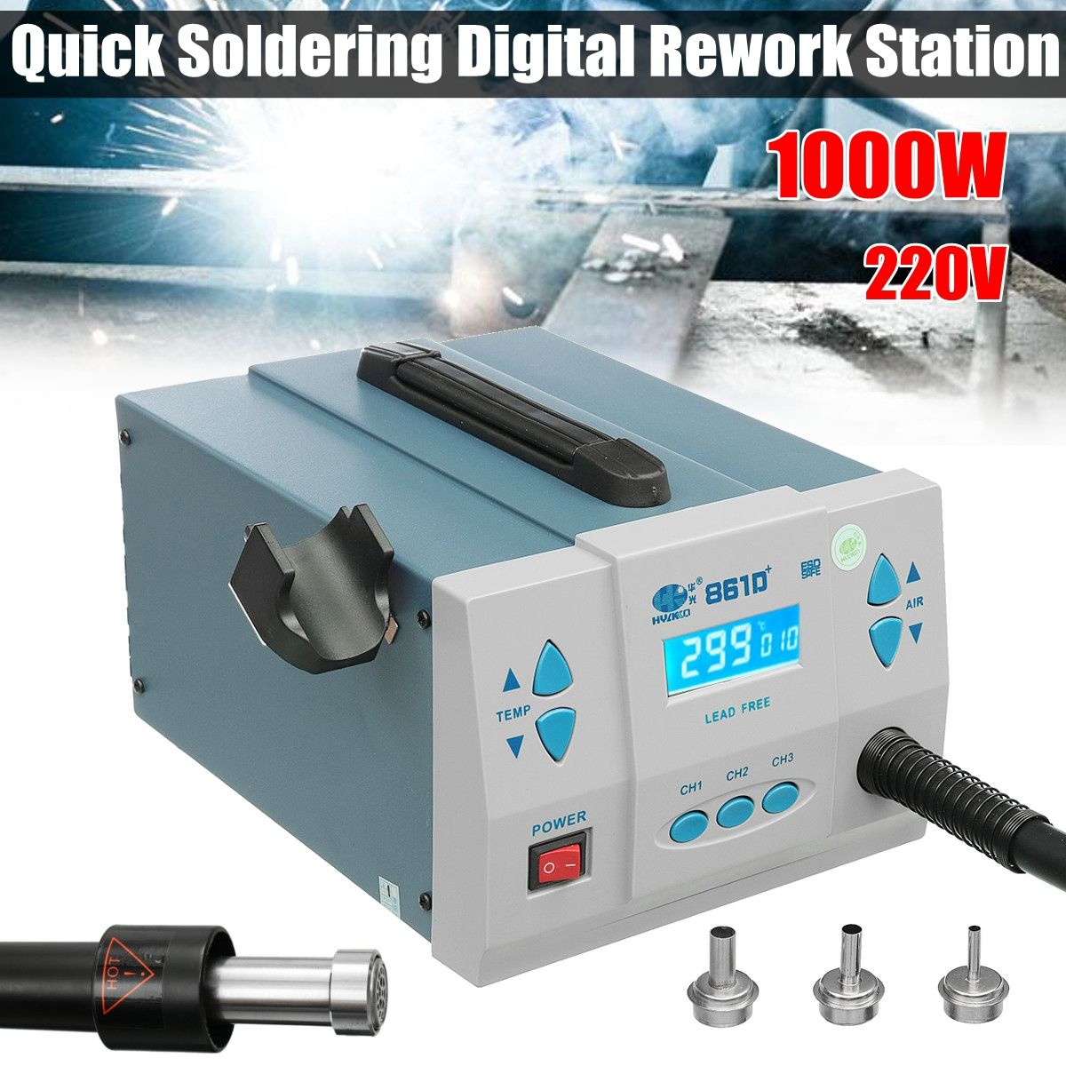 1000W Thermostatic Quick Soldering Digital Rework Station Lead-free Desoldering