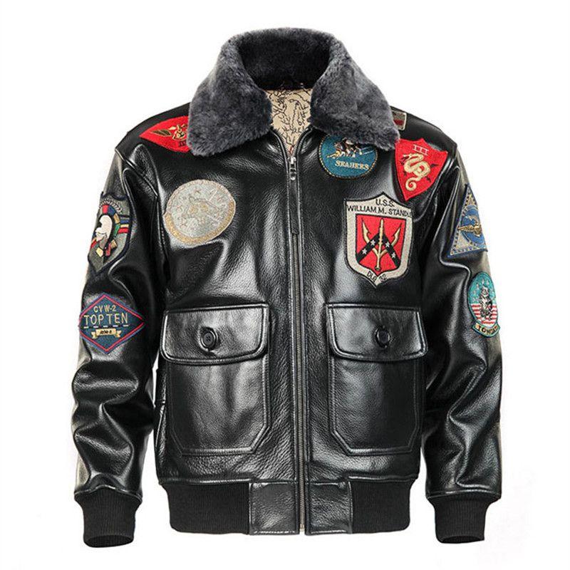 2018 мужские черные Top Gun кожаная куртка пилот плюс Размеры 3XL шерстяной воротник из натуральной коровьей Военная Униформа кожа пилот пальто м...