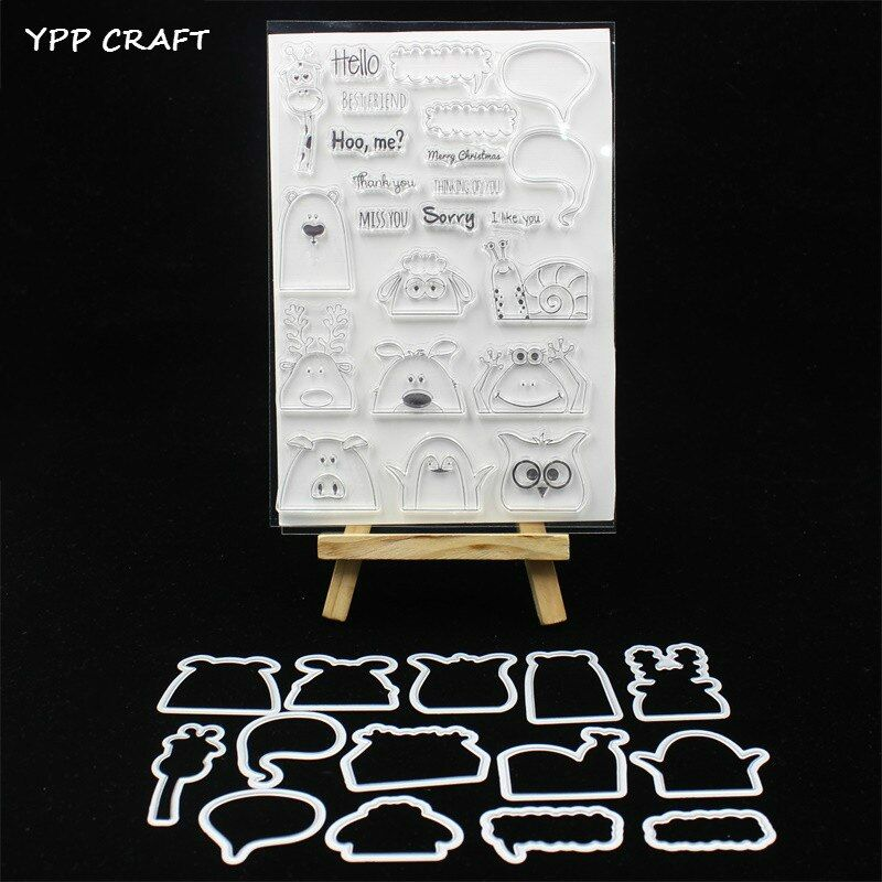 YPP CRAFT Hidden Animals Stamp And Metal Cutting Dies for DIY Scrapbooking/photo album Decorative Embossing DIY Paper Cards