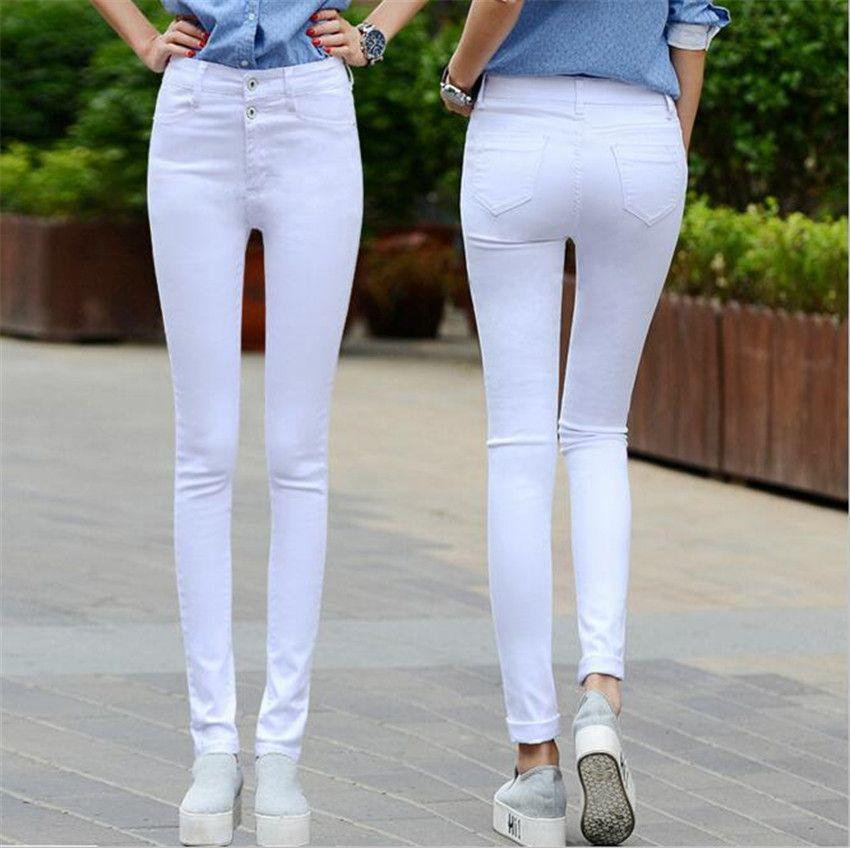 MLCRIYG high waisted trousers elastic slim black jeans new spring Korean female trousers