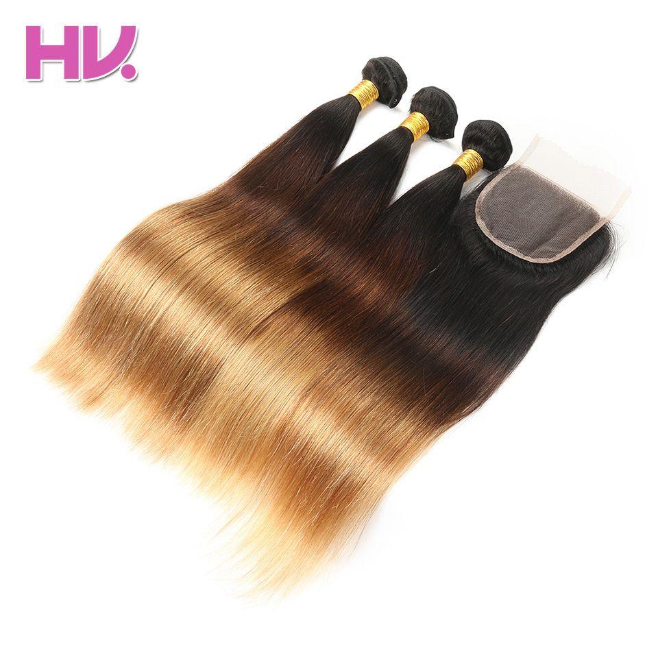 Cheveux Villa Ombre Brésiliens Cheveux Raides Avec Fermeture # 1b/4/27 4*4 Remy Ombre Humains cheveux Bundles avec Dentelle Fermeture pour Salon