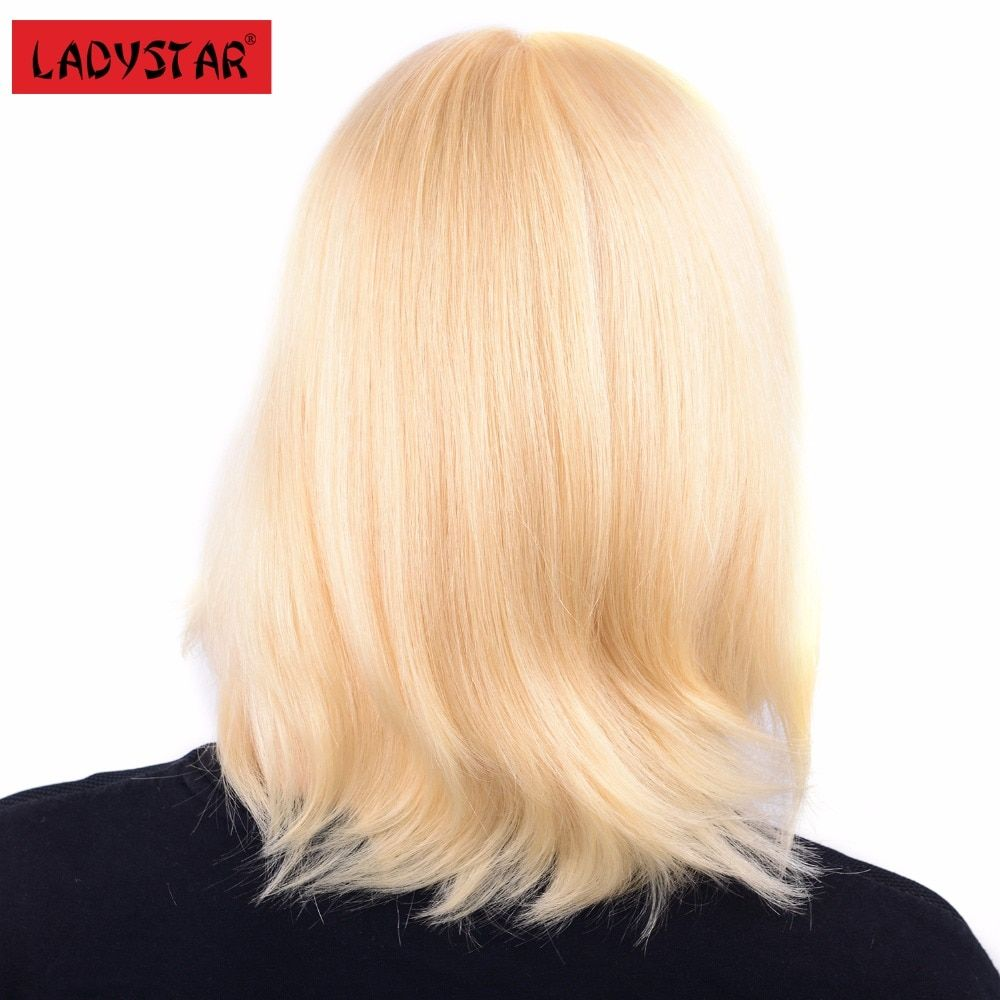LADYSTAR Lace Front Human Hair Wigs For Women Remy Hair Wigs Brazilian Straight Hair Wigs 150% Density With Bangs #613 Color