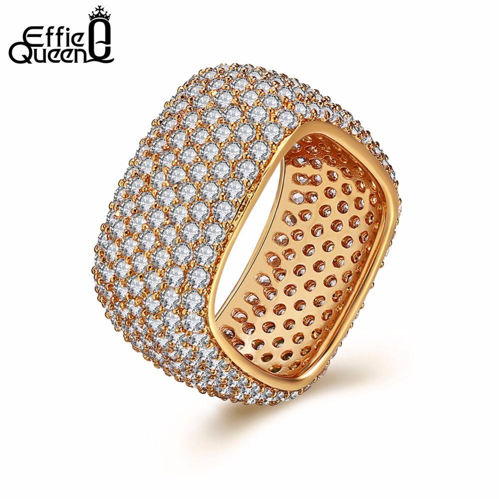Эффи Queen золото-цвет квадратный Винтаж fascination, ясно CZ большое кольцо для Для женщин Роскошные Модные украшения кольцо DDR10