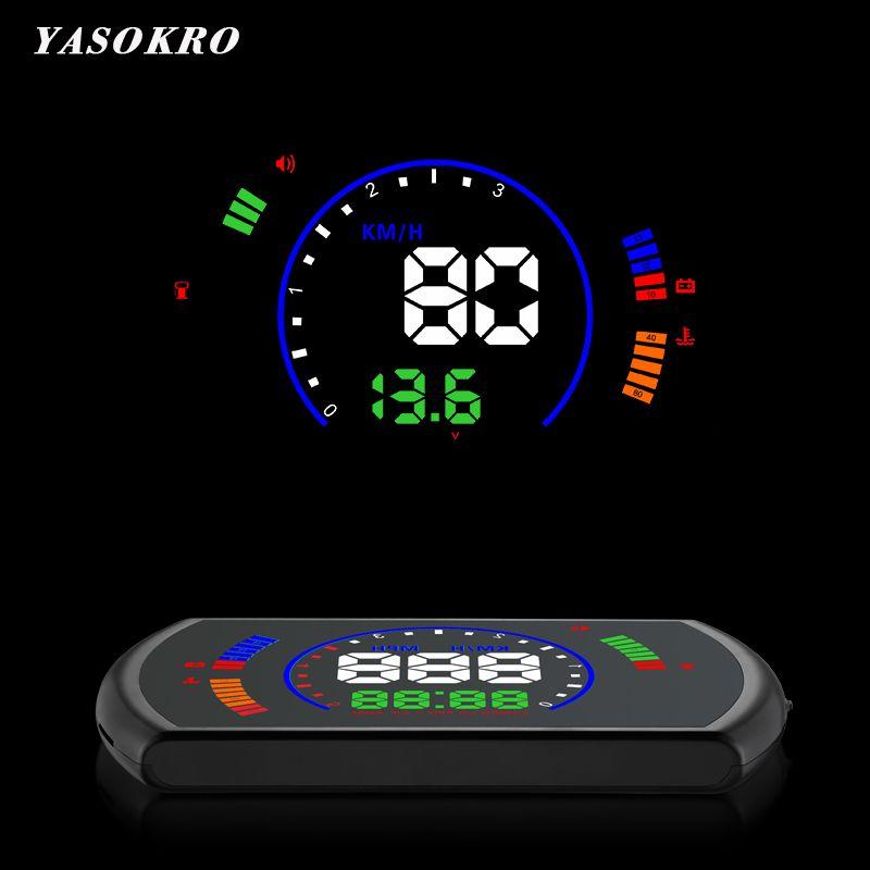 YASOKRO S600 voiture HUD affichage tête haute voiture vitesse projecteur numérique compteur de vitesse OBD2 EUOBD système d'avertissement de survitesse