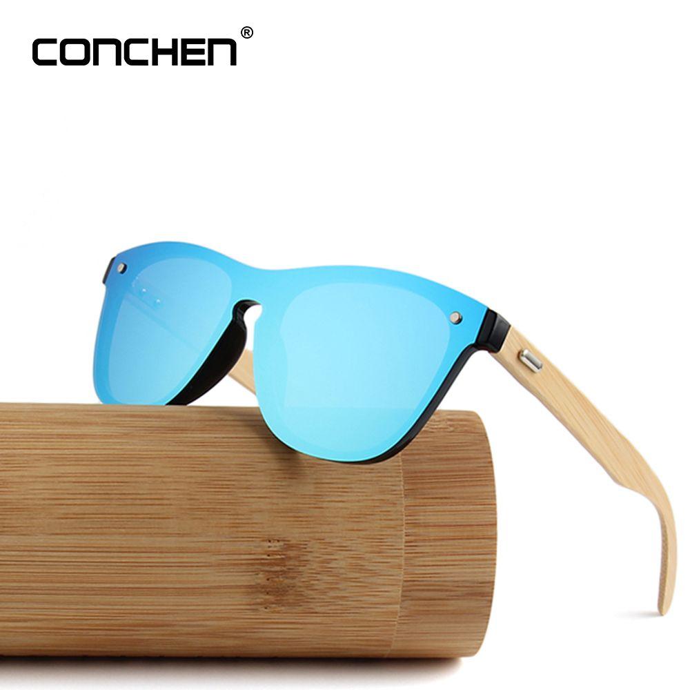 CONCHEN Wooden Sunglasses Men Bamboo Sunglass Women Brand Design Sport Gold Mirror Sun Glasses Cylinder Bamboo Box