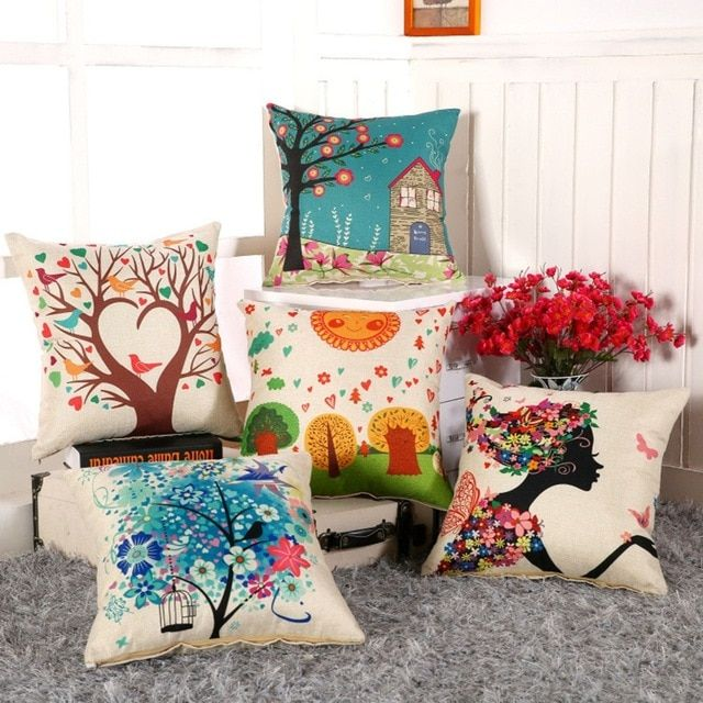 Home Supplies Digital Printing Flower Cotton Linen Square Sofa Cushion Cover Throw Pillow Case Decorbox(without pillow Core)