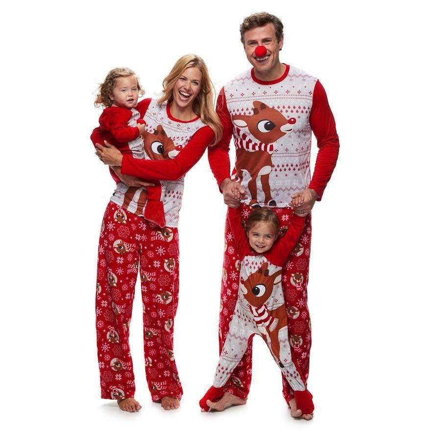 Moda Adulto Navidad Niños Pijamas Trajes A Juego de La Familia Pijamas Ropa de Dormir ropa de Dormir de Algodón Rojo