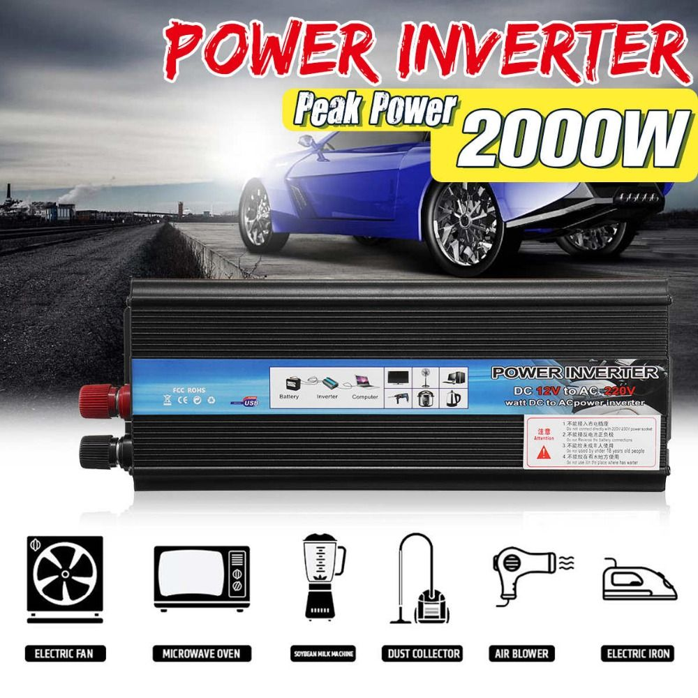 Solar Power Inverter DC 12V/24V To AC 220V 1000W 2000W Peak Power Sine Wave Car Inverter Charger 12V 220V Voltage Converter