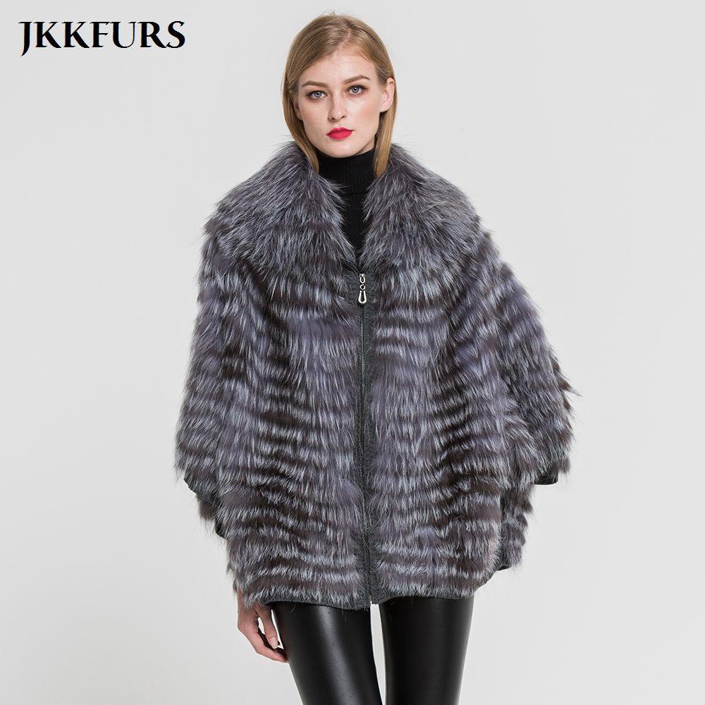 Frauen Echt Pelzmantel Mode Stil Echtem Silber Fuchs Pelz Jacke Winter Warm Outwear Top Qualität Natürliche Pelz Poncho s7383
