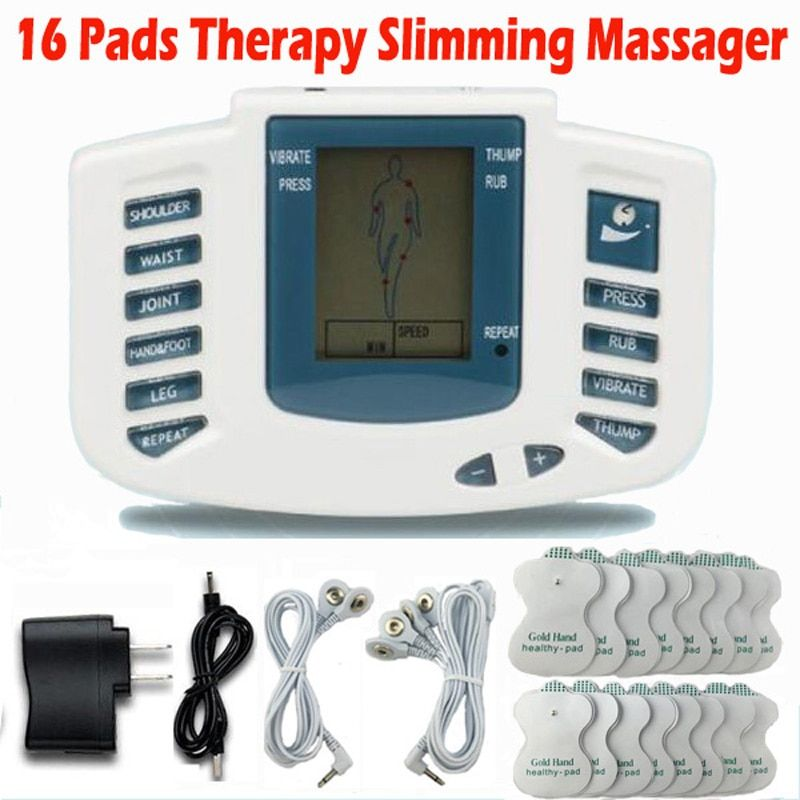 Electrical Stimulator Full Body Relax Muscle Therapy Massager Massage Pulse tens Acupuncture <font><b>Health</b></font> Care Slimming Machine 16pads