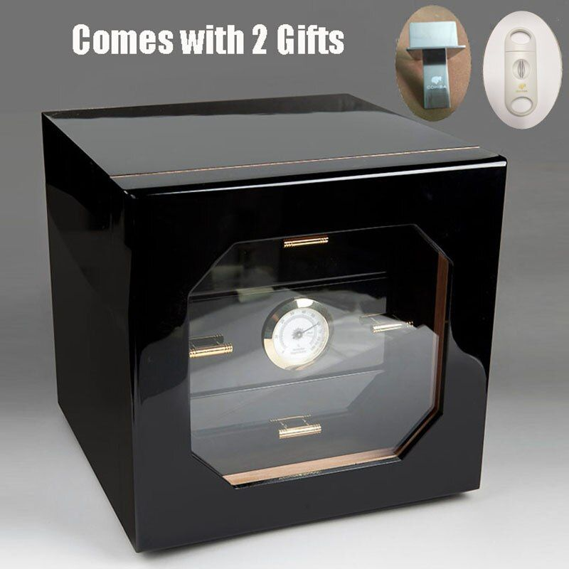 Black High Glossy Finish Wooden COHIBA Cigar Humidor Cabinet Storage Cigar Box with 3 Drawers Hygrometer Humidifier