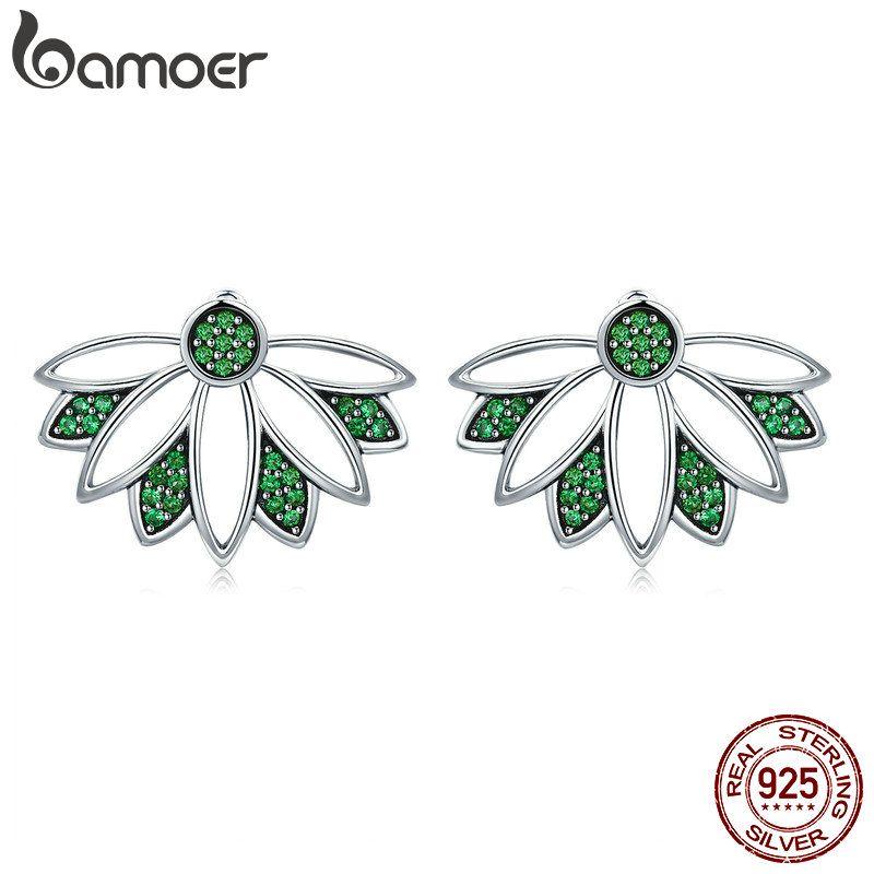 BAMOER Echt 100% 925 Sterling Silber Baum des Lebens Blätter Grün CZ Stud Ohrringe für Frauen Sterling Silber Schmuck S925 SCE334