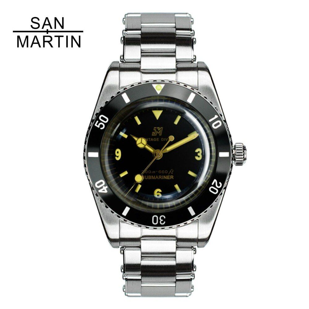 San Martin Men Vintage Watch Automatic Diving Watch Stainlss Steel Watch 200m Water Resistant ETA2824 Movement Montre Homme Men