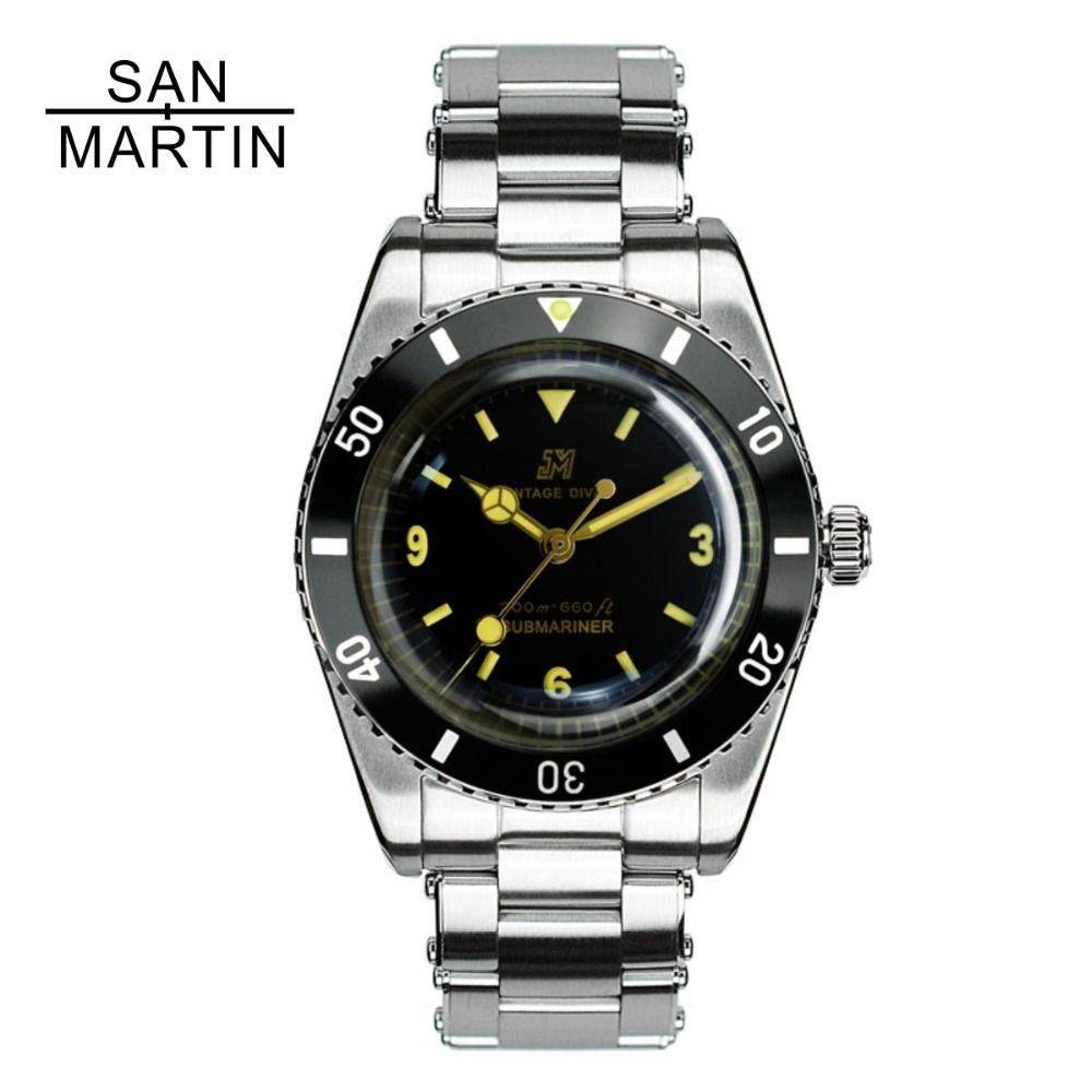 San Martin Men Vintage Watch Automatic Diving Watch Stainlss Steel Watch 200m Water Resistant ETA2824 Movement Montre Homme Men