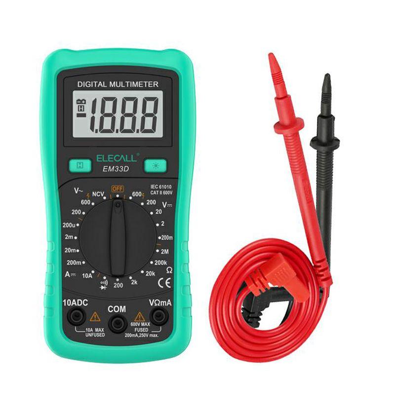 ELECALL 3 1/2 Digital Multimeter EM33D AC/DC 600V 1999 Counts Backlight Data Hold NCV Voltage Detection Overload <font><b>Protection</b></font>