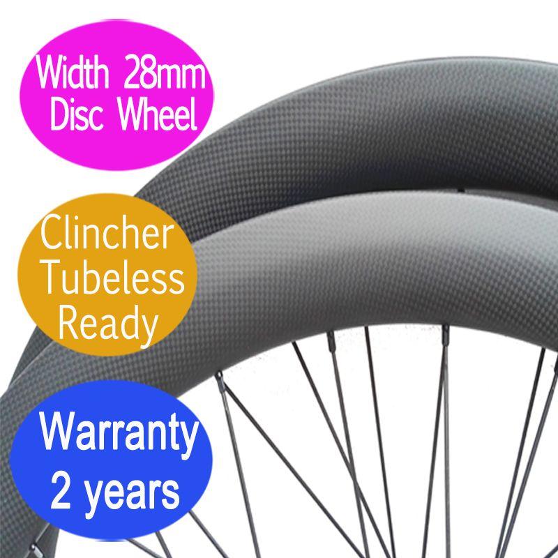 Breite 28mm carbon rennrad disc rad 2 jahre garantie klammer tubuless gerade pull cyclocross laufradsatz thru 12*100 12*142
