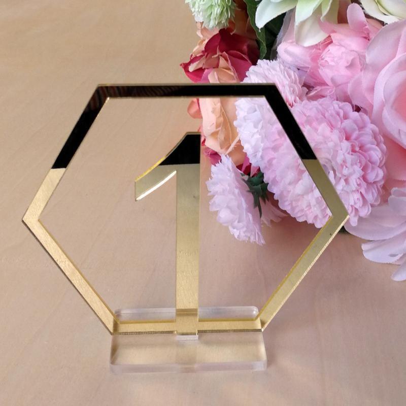 Signes de numéro de Table pour la décoration de mariage, numéro acrylique argent ou or, pièce maîtresse géométrique à chiffres romains