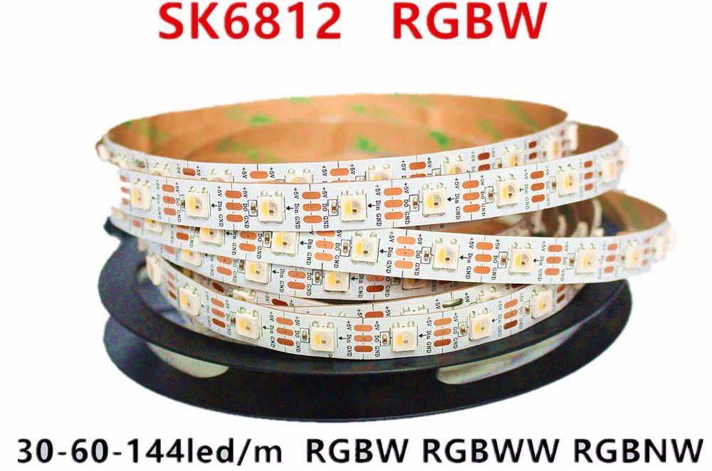 Meilleur prix 1 m 5 m adressable SK6812 RGBW led bande WWA 4 couleur en 1 Led étanche 30/60/144 leds/pixles/m 5 V similaire WS2812B