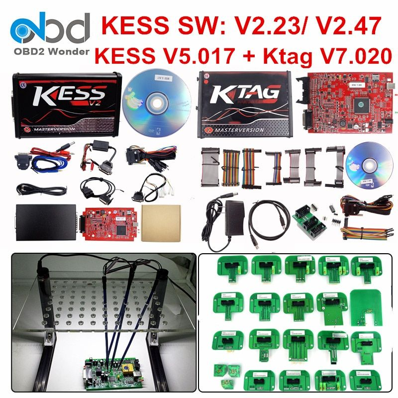 Ensemble complet Ktag 7.020 KESS V2 5.017 V2.47 LED rouge cadre BDM outil de réglage de la puce ECU K-TAG V7.020 KESS V5.017 Master en ligne Version EU