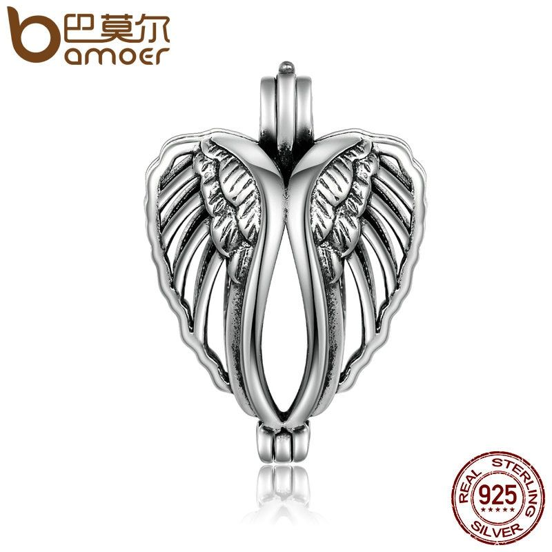 BAMOER 925 Sterling Silver Angel Wings Feathers Pendant Fit Pearl Necklace Silver 925 Jewelry Making SCP013
