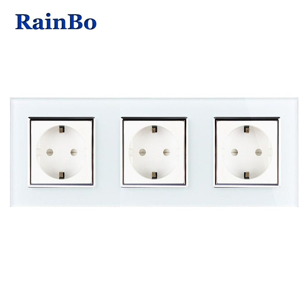 RainBo Brand Manufacturer Wall power Socket EU Standard   Crystal Glass Panel AC 110~250V 16A 222*80mm Wall Socket A38E8E8EW/B
