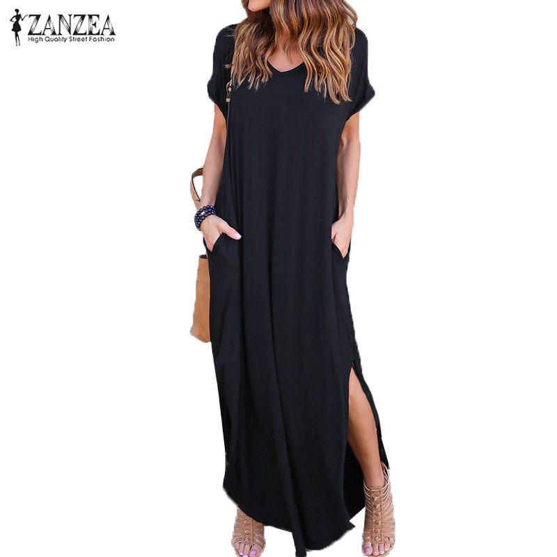 2018 ZANZEA Summer Women Short Sleeve V Neck Casual Slit Hem Solid Party Beach Maxi Long Dress Brief Black Vestido Plus Size