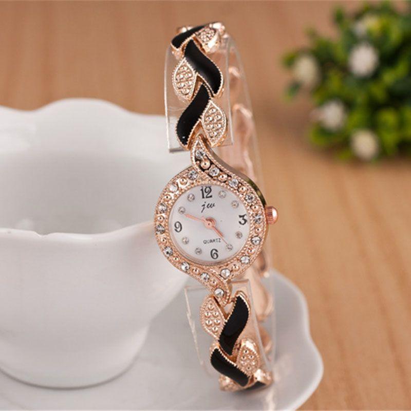 Señoras de la manera reloj pulsera de cuarzo rosa de oro femenino reloj de lujo montre Femme metal banda mujeres diamante relojes marca JW