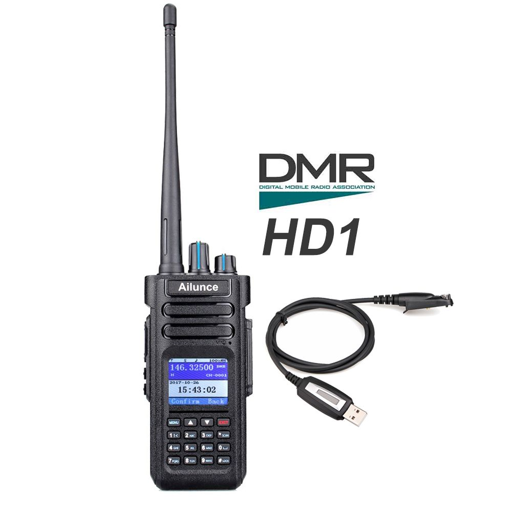 Retevis Ailunce HD1 Dual Band DMR Radio Digital Walkie Talkie DCDM TDMA VHF UHF Ham Radio Hf Transceiver + Program Cable