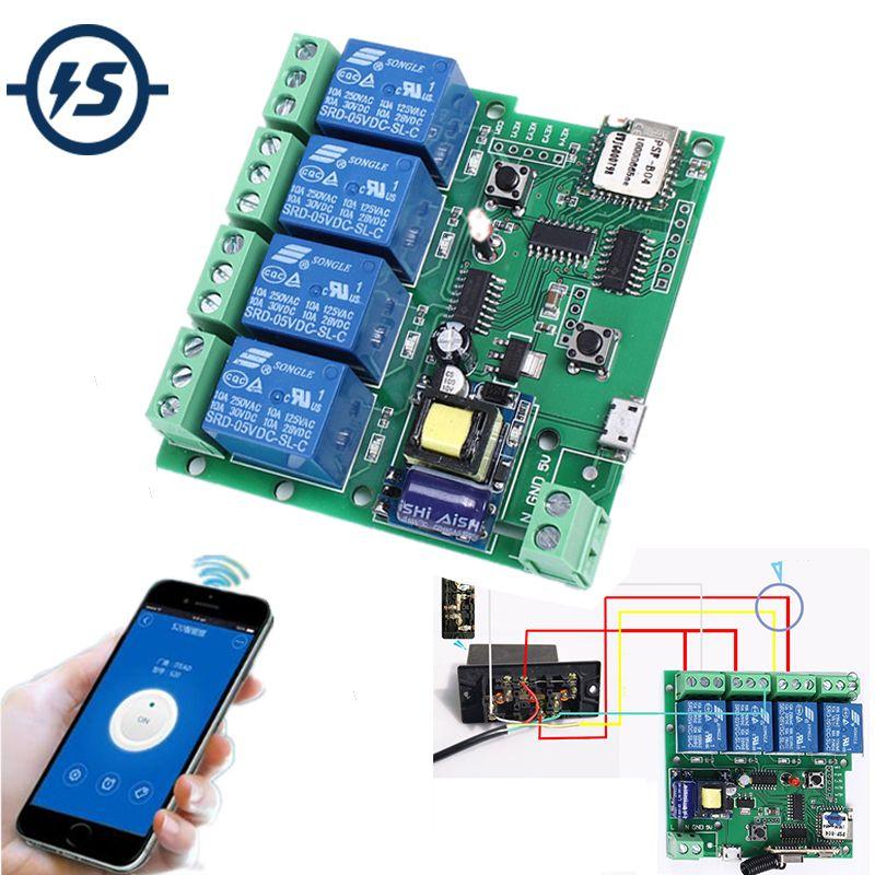 220V 4 <font><b>Channel</b></font> Wifi Relay Module Phone APP Wireless Remote Control WIFI Switch Jog Self-Lock Interlock 433M For Smart Appliances