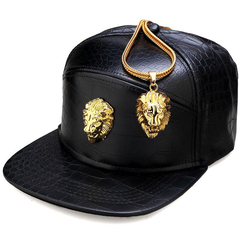 NYUK Métal Or Tête de Lion Logo PU En Cuir Casquette de baseball Casual Unisexe ceinture Boucle Hip Hop Rap 5 Panneau Sun Snapback Chapeaux Hommes Femmes