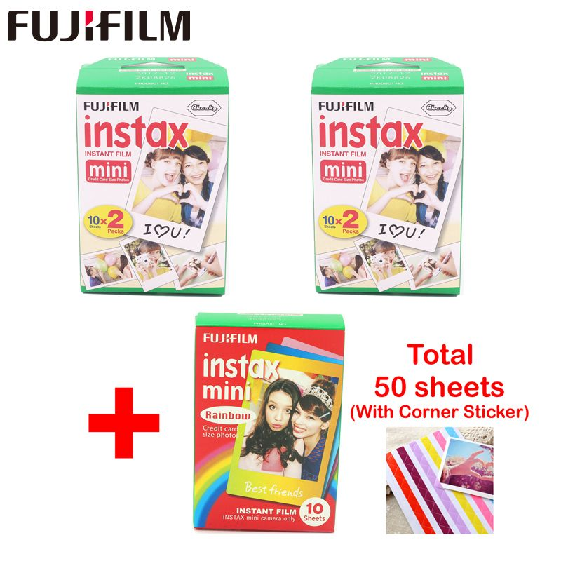 fujifilm 40 sheets White Edge 3 inch wide and 10pcs Rainbow paper instax mini 8 film for Instant mini 7s 9 25 50s 90 camera