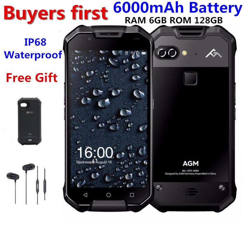 AGM X2 IP68 Wasserdichte Handy 5,5 6 gb RAM 64 gb/128 gb ROM Android 7.1 MSM8976SG Octa core 12.0MP 6000 mah NFC smartphone