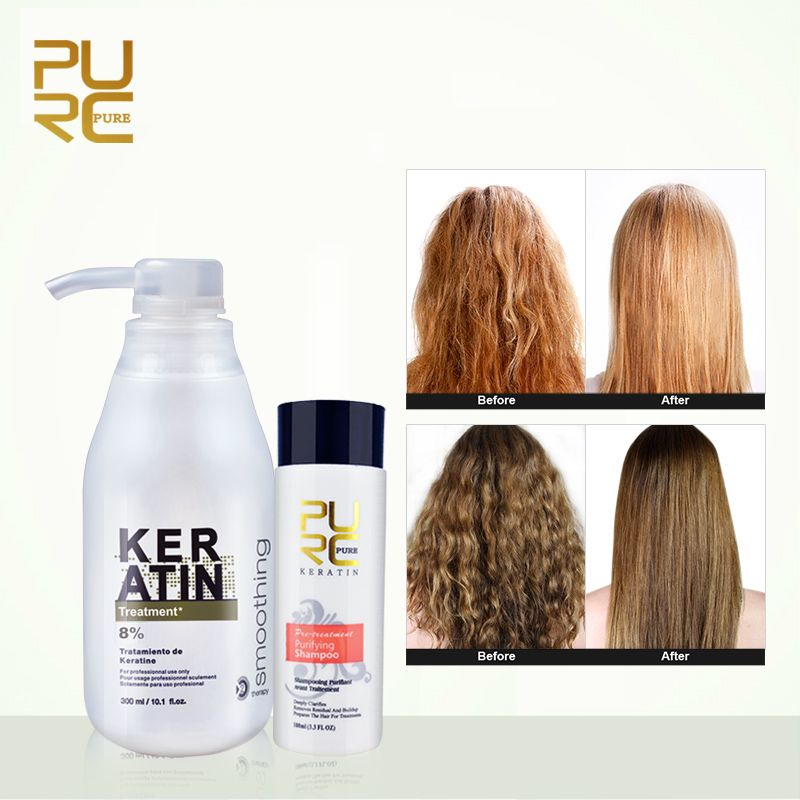 PURC 8% formol kératine brésil traitement à la kératine 100ml shampooing purifiant soin des cheveux rendre lissant lissant brillant