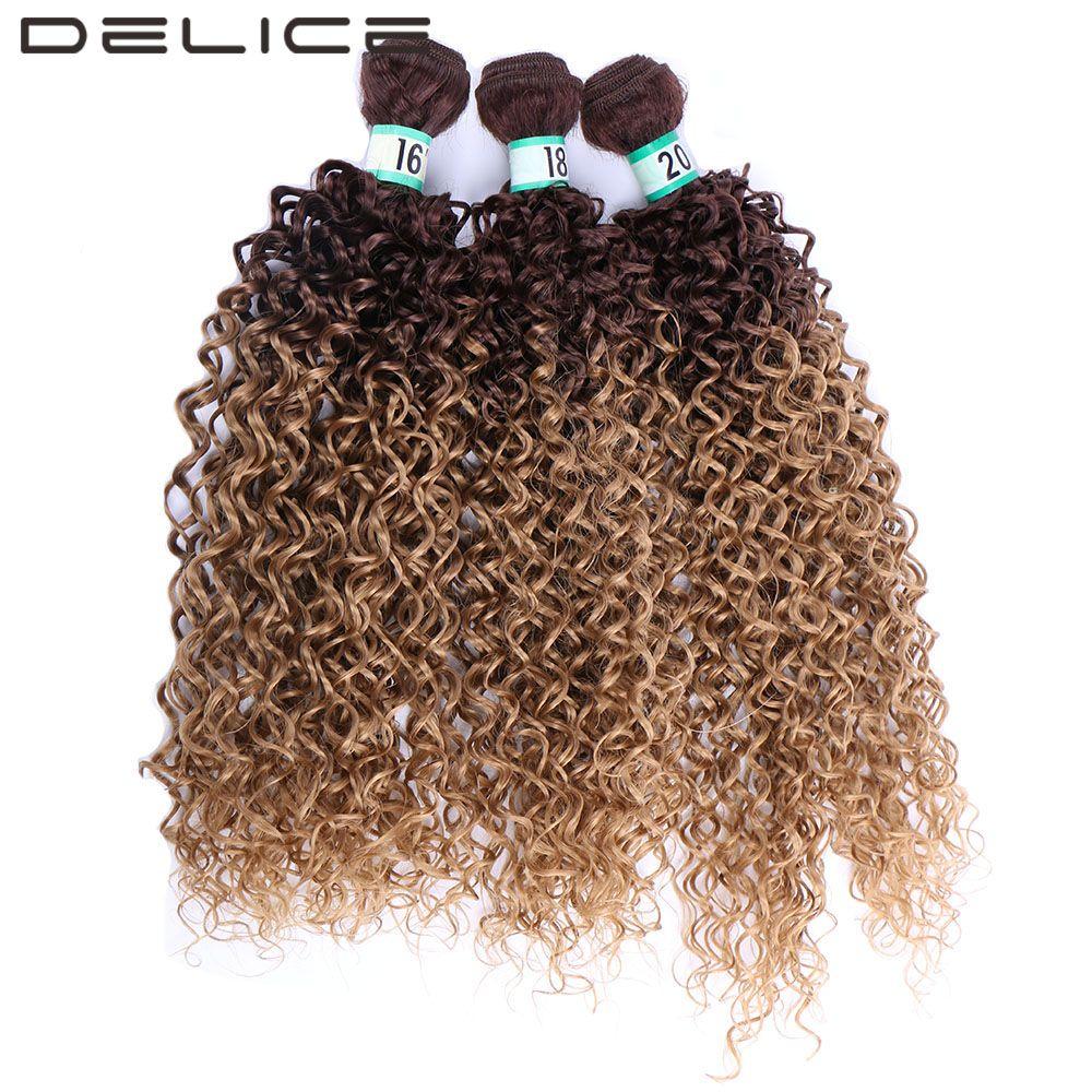 DELICE Negro Marrón Ombre Kinky Curly Hair Weaving 3 unids/pack Sintético Extensiones Pelo de La Trama Paquetes Para Las Mujeres 16