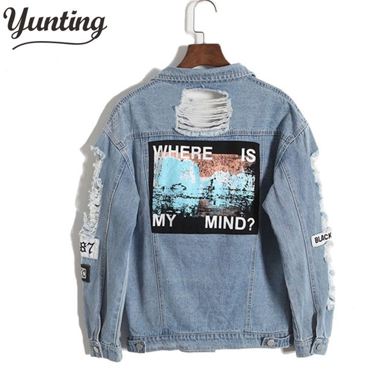Vintage Fashion Wash Water Distrressed Denim Jacket Embroidery Letter Loose Back Applique BF Denim Coat Hole Outerwear Female