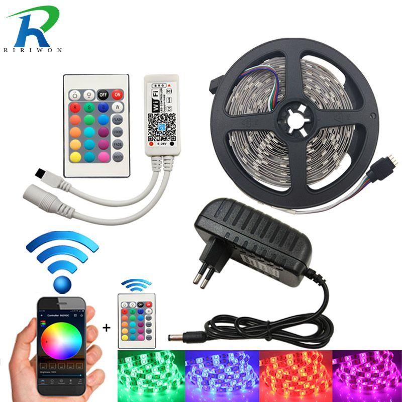 WiFi LED Strip SMD <font><b>5050</b></font> Waterproof DC 12V RGB LED Light Flexible Ribbon Diode Tape 4m 5m 8m 10m 15m With WiFi Controller+Power