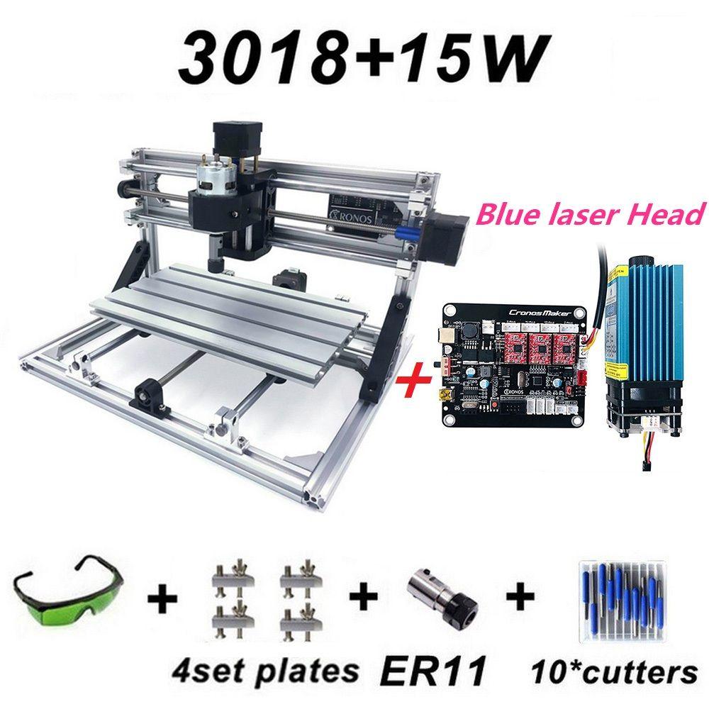 15 W Neue CNC3018 Gravur Maschine ER11 mit 500 mw 2500 mw 5500 mw 15000 mw Blau Laser Kopf Holz router PCB Fräsen Maschine