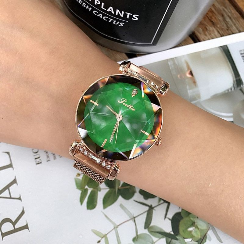2018 Luxury Brand Crystal Ladies Watch Women Magnet Buckle Dress Watches Fashion Woman Quartz Watchs Stainless Steel Watch Clock